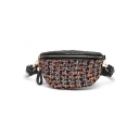 Women's Fashion Plaid Pattern Black Vintage Hairy Quilted Waist Belt Bag 32*11*14 CM