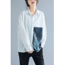 Womens Simple Basic Long Sleeve Casual Loose Button Down White Shirt