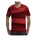 Mens Fashion 3D Printed Basic Round Neck Short Sleeve Red Casual Tee