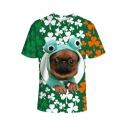 Stylish Saint Patrick's Day Clover Dog 3D Printed Green Short Sleeve Tee