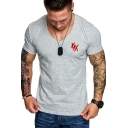 Summer Fashion Simple Letter XXX Print V-Neck Short Sleeve Sport Slim Fit T-Shirt for Guys