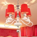 Modern White Hanging Light with Dot Shade & Flower 5 Lights Fabric Chandelier for Girls Bedroom