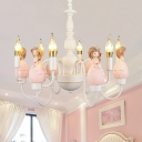 Candle Girls Bedroom Chandelier with Princess 6 Lights Modern Lovely Pendant Light in White