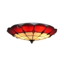 Vintage Tiffany Umbrella Ceiling Lamp Art Glass 16 Inch Red Flush Mount Light for Restaurant