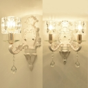Clear Crystal Cube Wall Light Living Room Bedroom 1/2 Heads Elegant LED Sconce Light in White