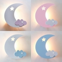 Cloud & Crescent Wall Lamp Kids Acrylic Candy Colored LED Sconce Light for Nursing Room
