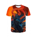 Popular King of the Monsters 3D Dragon Printed Round Neck Short Sleeve T-Shirt