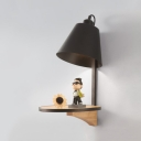 Metal Bucket Shade Wall Light with Shell Study Room 1 Head Macaron Style Candy Colored Sconce Light