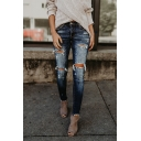 Hot Popular Womens Distressed Ripped Hole Raw Hem Slim Fit Denim Jeans