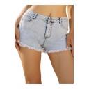 Womens Trendy Blue Washed Frayed Hem Slim Fit Denim Shorts