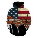 Stylish Letter Stripe Flag Printed Long Sleeve Sport Loose Hoodie