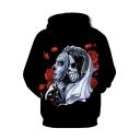 Fashion Rose Skull Bride Printed Long Sleeve Black Sport Hoodie