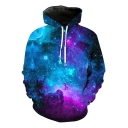 Fancy Blue Galaxy 3D Printed Long Sleeve Casual Loose Pullover Hoodie