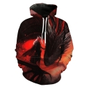 Stylish Mother of Dragons 3D Pattern Long Sleeve Red Casual Loose Hoodie