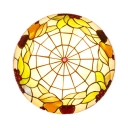 Antique Tiffany Grape Ceiling Lamp Stained Glass Beige Flush Ceiling Light for Dining Room