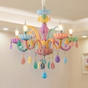 Candle Kindergarten Pendant Light Resin 5/6 Heads Macaron Style Multi-Colr Chandelier with Crystal