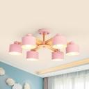 Round Kid Bedroom Pendant Lamp Wood 6/8 Lights Macaron Loft Chandelier in Gray/Green/Pink/Yellow
