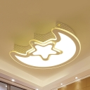 Cartoon White LED Flush Mount Light Crescent&Star Metal Acrylic Ceiling Lamp for Nursing Room