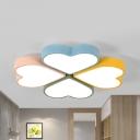 Nursing Room Heart Petal Ceiling Lamp Acrylic 4 Heads Stepless Dimming/White Lighting Macaron Flush Mount Light