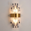 Modern Style Tube Wall Sconce Smoke Crystal Metal Two Lights Wall Lamp in Gold Finish for Dining Room
