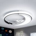 Black/White Monkey LED Flush Mount Light Animal Metal Black/White Finish Ceiling Lamp in Warm/White for Kid Bedroom