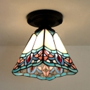 Tiffany Craftsman Ceiling Mount Light Stained Glass One Head White Ceiling Lamp for Hallway