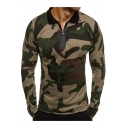 Mens Trendy Camo Printed Half-Zip Front Slim Fitted Long Sleeve Polo Shirt