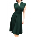 Womens Summer Vintage Solid Color V-Neck Cap Sleeve Ruched Detail Midi A-Line Dress