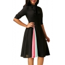 Summer Womens Trendy Elegant Bow-Tied Collar Half Sleeve Unique Patchwork Midi A-Line Dress