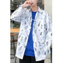 Guys Street Style Allover Cartoon Figure Printed Long Sleeve Casual Loose Over Shirt