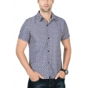 Mens Summer Chic Floral Printed Basic Short Sleeve Slim Fit Button Up Shirt