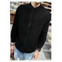 Mens Trendy Simple Plain Stand Collar Long Sleeve Button Front Casual Loose Linen Shirt