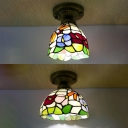 Multi-Color Floral Ceiling Light 1 Bulb Tiffany Rustic Glass Flush Mount Light for Kitchen