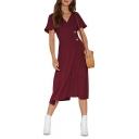 Womens Fancy Simple Plain Surplice V-Neck Short Sleeve Two-Button Embellished Midi A-Line Dress