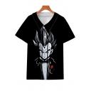 Cool Unique Comic Blazer Character 3D Printed Short Sleeve V-Neck Button Down Black Baseball Shirt