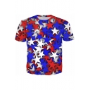 Abstract Blue Red White Star Printed Round Neck Short Sleeve T-Shirt