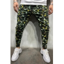 Cool Fashion Camouflage Printed Drawstring Waist Men's Slim-fit Pencil Pants