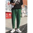 Casual Fashion Letter Printed Fake Pocket Side Cotton Cargo Pants for Men