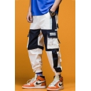 Street Style Trendy Letter Printed Buckle Strap Flap Pocket Design Men's Color Block Cotton Hip Pop Cargo Pants