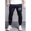 Fashion Letter Printed Drawstring Waist Black Cotton Slim Fit Sports Joggers Sweatpants for Men