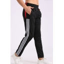 Men's Fashion Colorblock Striped Side Elastic Waist Zipped Pocket Running Sports Track Pants