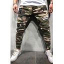 Men's Cool Fashion Camouflage Print Letter Badge Patchwork Army Green Denim Pencil Pants