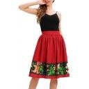 Summer New Fashion Christmas Cartoon Printed Midi Swing Skirt