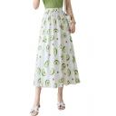 Summer Girls Hot Popular Avocado Printed Elastic Waist Maxi A-Line Flowy Skirt