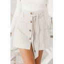 Womens Chic Plain Beige Tied Waist Button Down Mini A-Line Skirt with Pocket