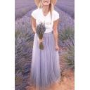 Girls Summer Popular High Rise Purple Flared Maxi Tulle Skirt