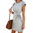 Womens Basic Simple Plain Round Neck Short Sleeve Tied Waist Mini Sheath T-Shirt Dress