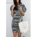 Summer Trendy Army Green Camo Printed Round Neck Mini T-Shirt Dress