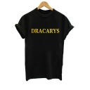 Summer Simple Letter DRACARYS Printed Round Neck Short Sleeve Casual Loose Tee