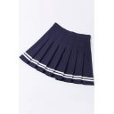 Girls Fashion Preppy Style Simple Striped Hem Mini A-Line Pleated Skirt